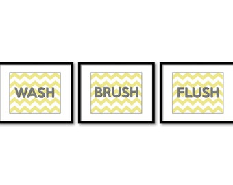 INSTANT DOWNLOAD Yellow Grey Gray Landscape Set of 3 Printable Bathroom Print Wash Flush Brush Art Wall Decor Modern Minimalist Chevron