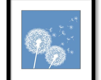 INSTANT DOWNLOAD Blue White Dandelion Printable Art Print Wall Decor Bathroom Bedroom Custom Modern Miminimalist Flower Nursery