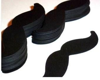 """Black cardstock mustaches (50) 3.5"""" moustaches party favors mustache (3037M)"""