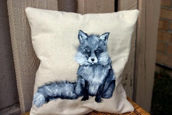 Fox Home Decor Original Hand Painted Fox Pillow