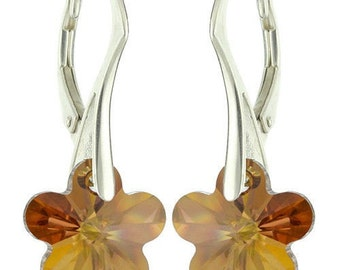 925 Sterling Silver Faceted Flower Swarovski Crystal Leverback Earrings