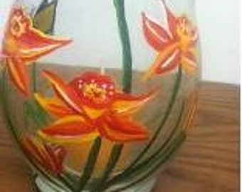 Orange Flower Candle Holder