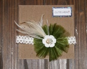 Baby/Little Girls Green Flower Handmade Headband with Feather Detail Pearls and Rhinestones Christmas