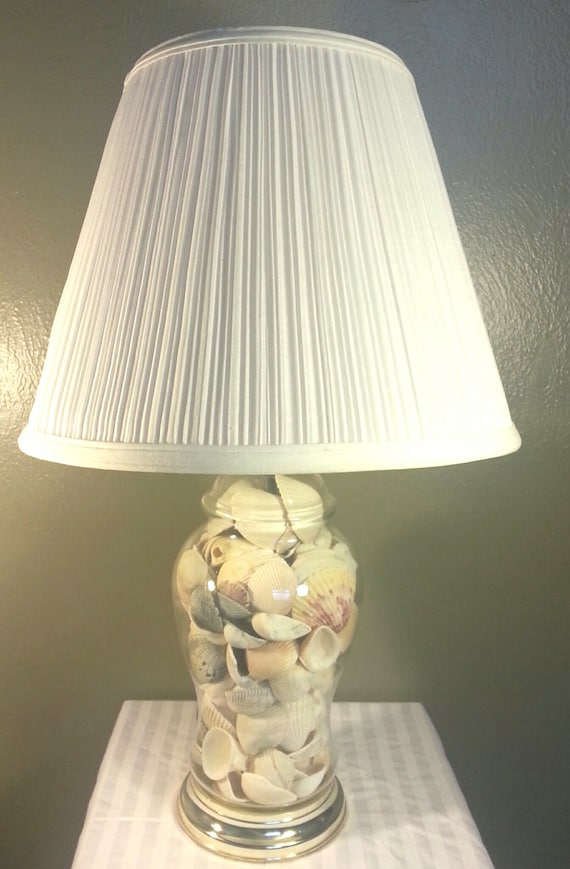 Glass Table Lamp Filled With Seashells Fillable Electric Lamp