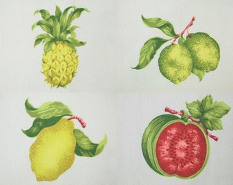 Pre-washed Cotton Fabric with Tropical Fruit By The Yard