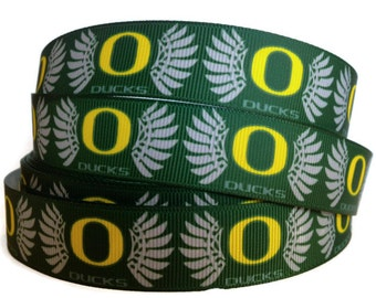 7/8 inch Grosgrain Oregon Ducks Ribbon, Ducks Grosgrain, Ducks Ribbon,  Oregon Ducks Ribbon, Grosgrain By The Yard by KC Elastic Ties