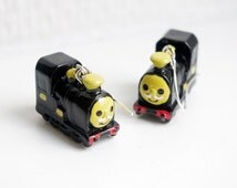 SUPER KAWAII COLLECTION:Mini black train earring,toy earring,car earring,small cute Christmas gift.birthday gift,for train lovers
