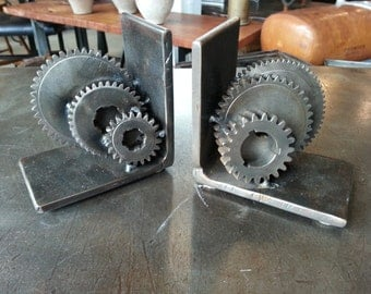 Salvaged Industrial Steampunk Gear Bookends