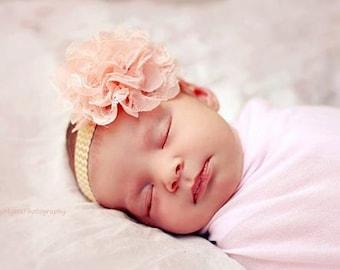 Vintage Rose chiffon headband-Vintage bow-infant headbands-baby girl headbands-baby bows-toddler headbands-newborn headbamds-baby headbands