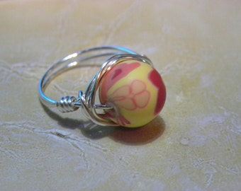 Yellow & Peach Floral Fimo Ring