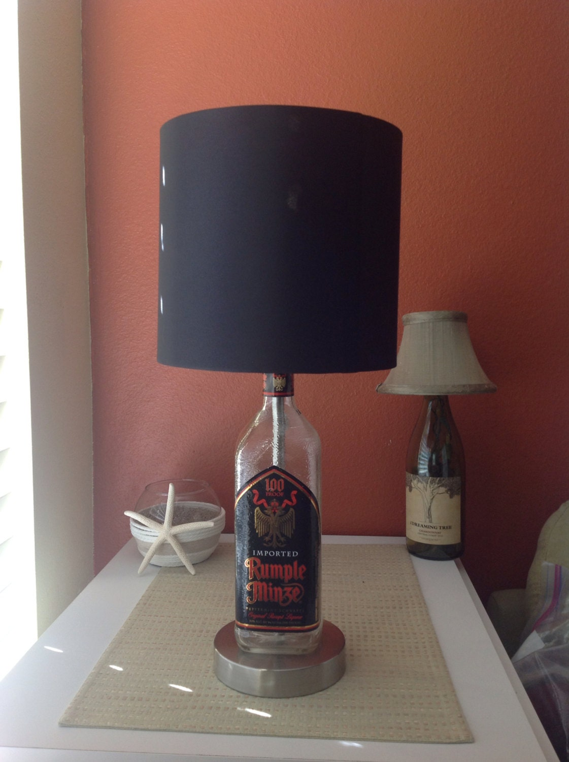 Rumple Minze Liquor Bottle Lamp With Brushed Silver Base