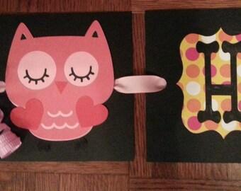 Birthday Banner, Owl Birthday Banner, Banner, Owl Birthday Gift Bag, Gift Bag, Cupcake Picks
