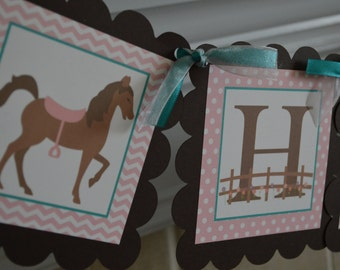 Horse Theme Happy Birthday Banner - Pink Brown and Teal - Little Girl Western Theme - Party Packs Available