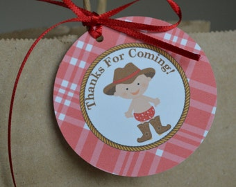 Cowboy Theme Favor Tags - Western Theme Favor Tags - Red Cowboy  - Set of 12
