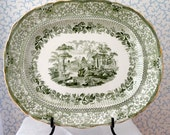 "Ridgway Green and White Transferware Platter ""Grecian"" Parthenon  scene Made in England"