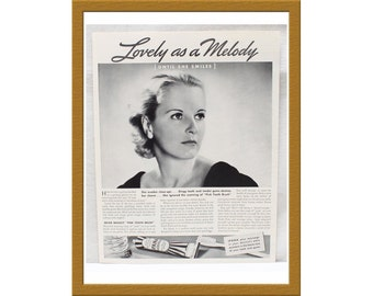 """1937 Ipana Tooth Paste Print AD Advertising / Lovely as a melody / 9"""" x 12"""" / Original B&W Advertisement / Buy 2 ads Get 1 FREE"""