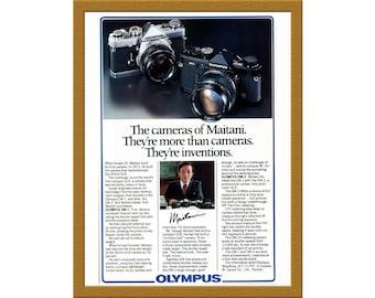 "1981 Olympus om1 om2 35mm Film SLR Camera Print AD / The cameras of Maitani / 5 7/8"" x 9"" / Original Advertising / Buy 2 ads Get 1 FREE"