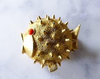 Vintage Sphinx Blow Fish brooch