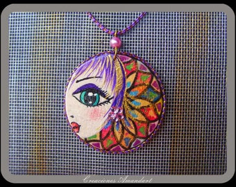 Pendant LAURA - freehand painted wood