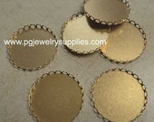 38mm round brass lace edge closed back settings 6 pcs