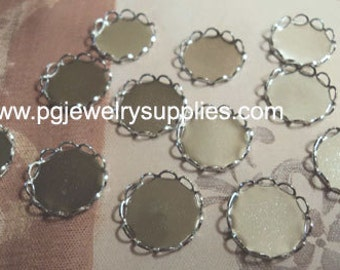 11mm round silvertone closed back lace edge cup settings 12 pc lot cameos cabochons