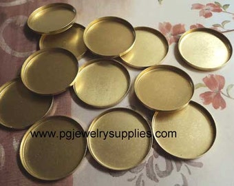 25mm round brass cameo cab settings cups high wall HW 12 pc lot l