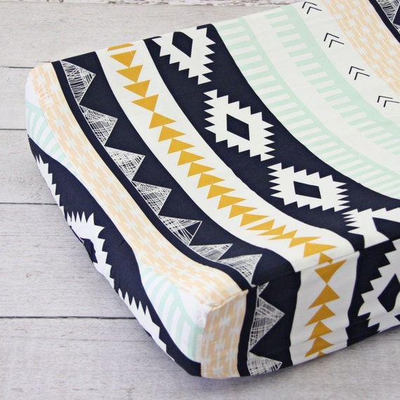 Aztec Gold & Mint Changing Pad Cover