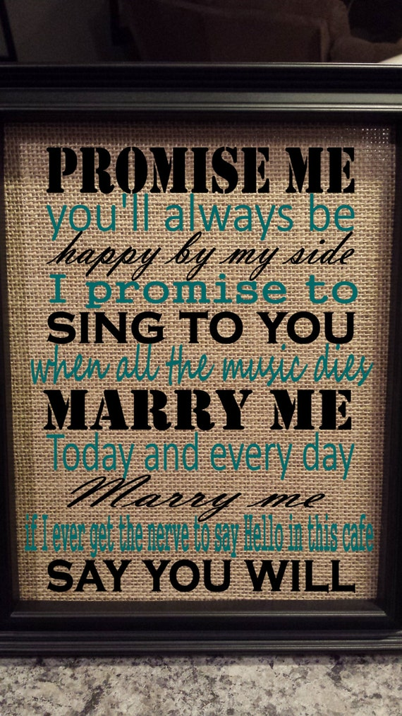 Framed Burlap Print - Marry Me Train Lyrics - Today and Every Day - Wedding - Anniversary - 8x10