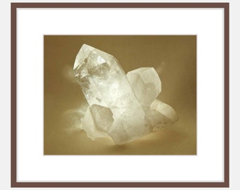 Quartz Chrystal Photo, Sepia Nature Photography Print of Raw Crystal Point