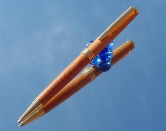 Wooden Slimline Twist Pen made from Yew