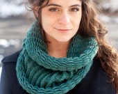 Cyan Green Wool Knit Circle Scarf - SarahandElliot