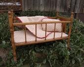 Antique Oak Doll Cradle Baby Doll Bed w/ Handmade Bedding