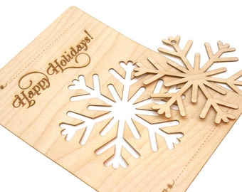 Wood Snowflake Ornament Christmas Card, Laser Cut, Modern Design, Great Present