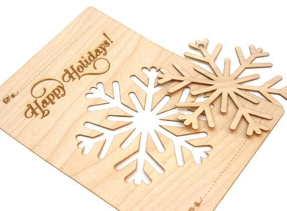 Wood Snowflake Ornament Christmas Card Laser Cut Modern
