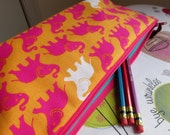 Long Zip Pouch in Bright Pink Elephants on Tangerine