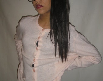 Vtg 90's cotton CANDY pure new WOOL cardigan M/L.