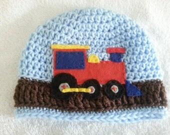 Crochet Beanie with Train Felt Applique
