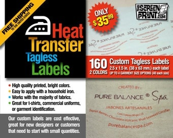 160 Custom Tagless Iron On Tranfer Labels 2 colors Size 2.5 x 1.5 in.