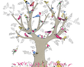 BIRDS IN A TREE  A tree full of cheeky birds ! A colourfully fun printed card  from an original a/w using scraps of vintage fabric .