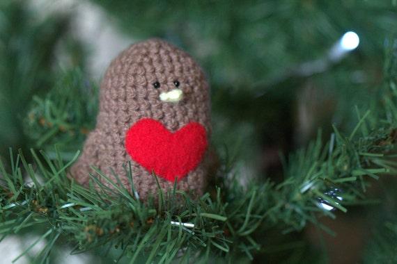 Robin Red Breast Crochet Amigurumi Bird by ThePigeonsNestUK