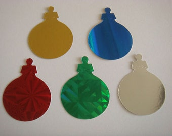 40 Shiny Christmas Bauble die cuts for christmas cards toppers cardmaking scrapbooking craft project