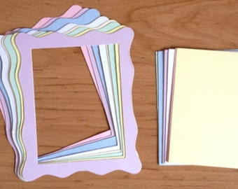 20 Large Wavy Jelly edge pastel frame die cuts with inserts for cards toppers cardmaking scrapbooking craft projects