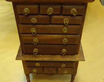 Tall chest of drawers or Highboy wooden doll house furniture