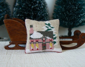 "Cushion ""House in the snow"".Accessory decoration for doll scale 1/12th house."