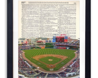 Washington Nationals Stadium Vertical Upcycled Dictionary Art Print Repurposed Book Print Recycled Dictionary Page - Buy 2 Get 1 FREE