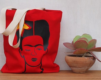 Miss Kahlo Mexican woman Tote Bag Red Bag canvas