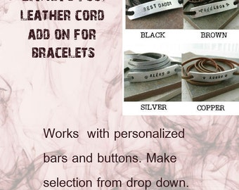 BRACELET ONLY - Leather cord add on, 3 feet, great to have with leather or ribbon wrap bracelets