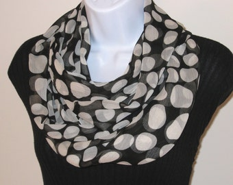INFINITY SCARF - Circle Scarf – Eternity Scarf - Chiffon Loop Scarf - Black and White Polka Dot Infinity Scarf