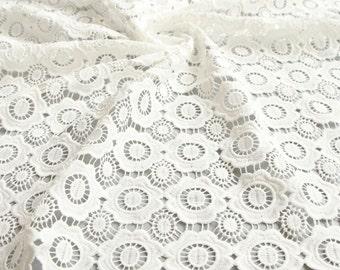 White Lace Fabric White Rayon Lace Lace circle Embroidery fashion Fabric-120CM