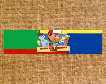 Customized Handy Manny Birthday Party Water Bottle Labels - Digital File